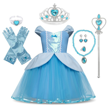 Princess Cinderella Snow White Party Cosplay Costume For Girls Carnival Kids Dress up Clothing Halloween Birthday Fancy Dress fancy girl princess dress cosplay beauty and the best costume kids halloween birthday party dress belle aurora cinderella dress