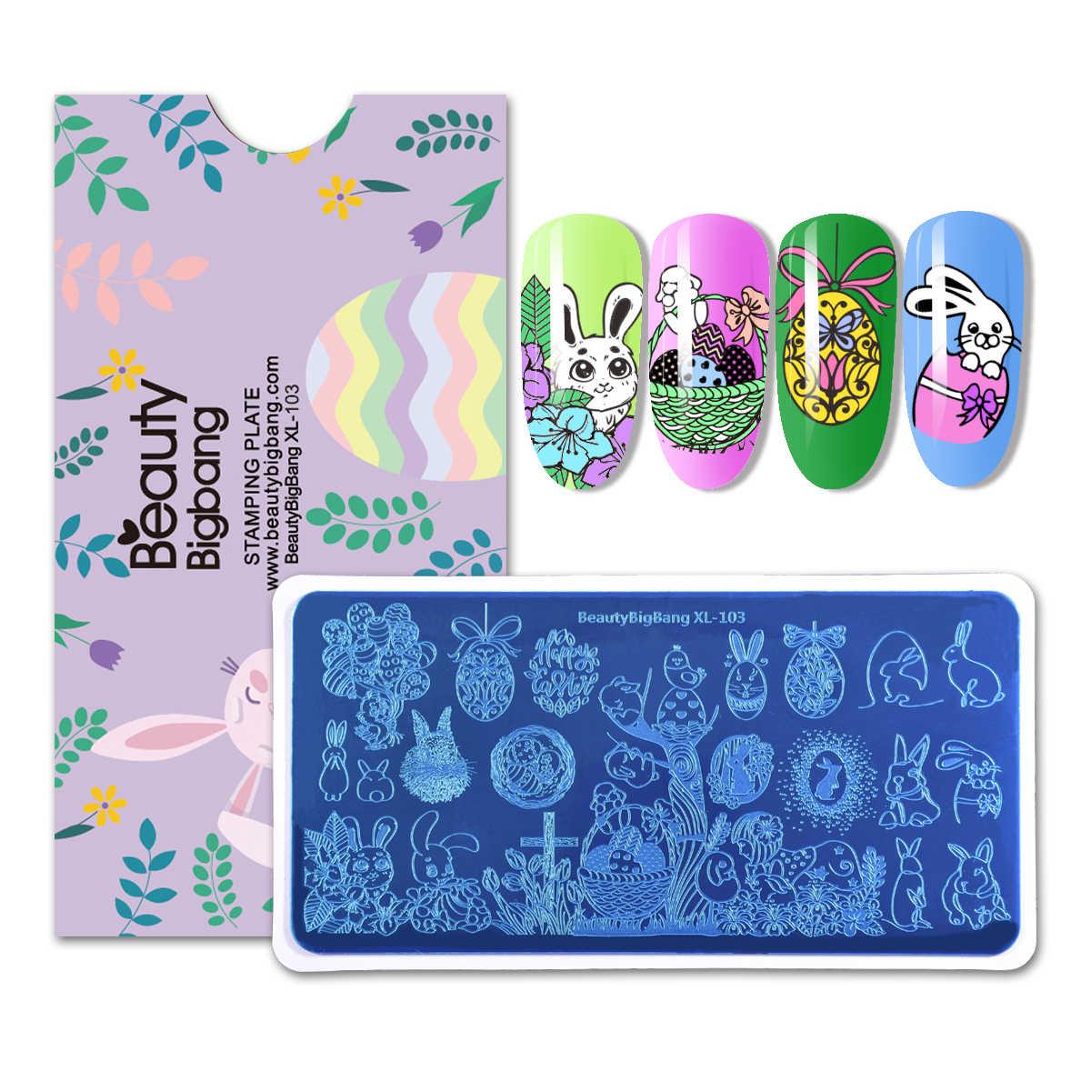 Beautybigbang 6*12cm retângulo feliz páscoa arte do prego placa de carimbo ovos coelho padrão placa de imagem do prego stencil selo modelo