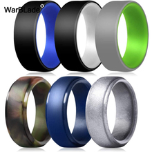 WarBLade New Two tone Double Layer Silicone Rings For Men Wedding Rubber Bands Hypoallergenic Antibacterial Silicone Finger Ring