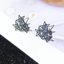 Rhinestone Star Stud Earrings S925 Silver Needle Simple Compact Design Feeling Earrings Female Temperament Earrings