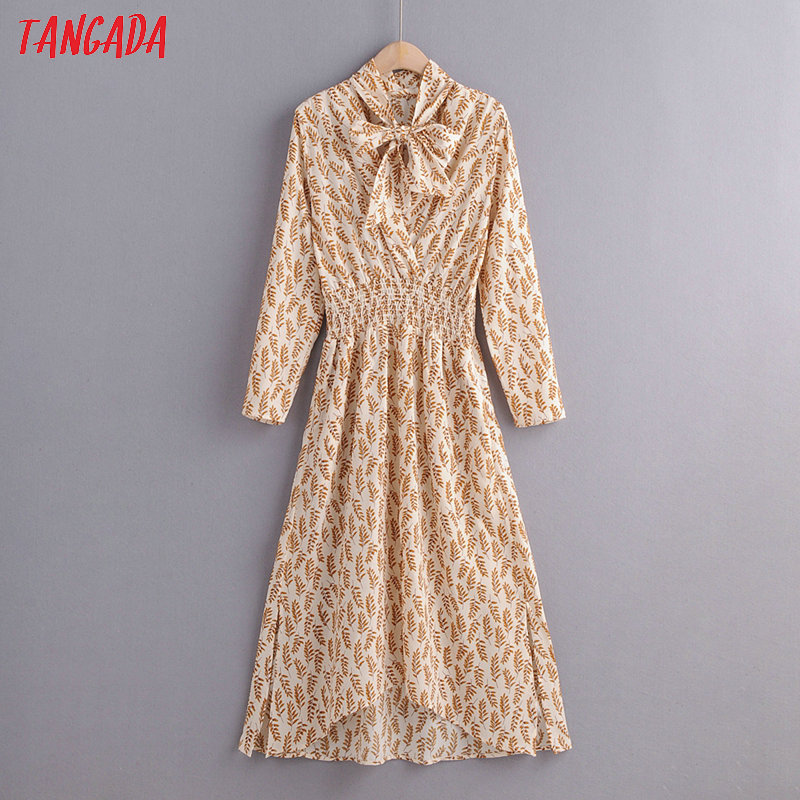 Tangada Fashion Women Leaf Print Office Dress Bow Neck Long Sleeve Pocket Strethy Waist Female Elegant Midi Dress 1F40