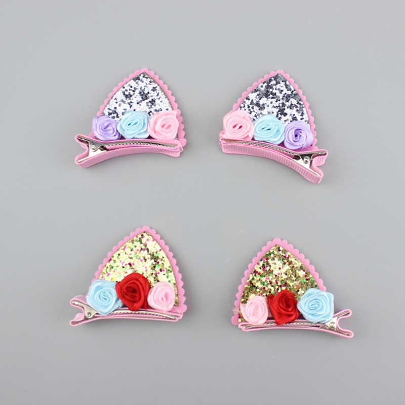 2 pièces/ensemble mignon pinces à cheveux pour filles paillettes arc-en-ciel feutre tissu fleurs épingles à cheveux oreilles de chat lapin Barrettes enfants cheveux accessoires