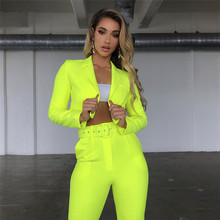 Woman Suits Lady Suit Office New 2019 Womens Long Sleeve Short + Pants Set Terno Feminino for Women Clothes