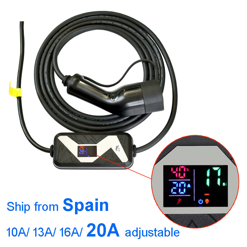 Electric Vehicle Car EV Charger Type 2 Home Portable Charger 20A 16A 13A 10A Adjustable European Plug