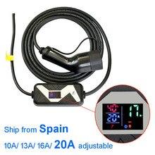 Elektrikli araç elektrikli araç şarjı tip 2 EV taşınabilir şarj cihazı 20A 16A 13A 10A ayarlanabilir avrupa fişi
