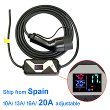 Elektrische Voertuig Auto Ev Charger Type 2 Thuis Draagbare Oplader 20A 16A 13A 10A Verstelbare Europese Plug