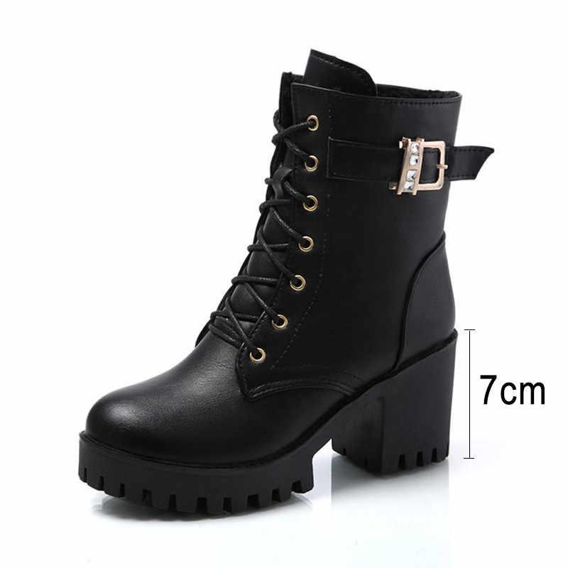Moda bileğe kadar bot seksi kadın çizmeler platformu kalın topuk çizmeler kadın kış ayakkabı 2019 sıcak kadın ayakkabı deri kadın patik