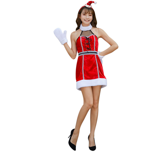 Dress Women Christmas Costumes Party Mini Dress Patchwork Plush Velver Warm Lace Up Boho Casual Dress With Headwear Gloves