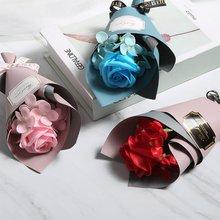 1 sztuk sztuczny bukiet róż boże narodzenie walentynki wysłać dziewczynę uroczystość ślubu domu bukiet dekoracyjny kwiat z jedwabiu