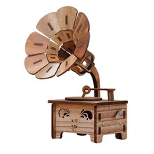 LIXF Kid Birthday Gift Gramophone Vintage Home Decoration Accessories New Year Gift Diy Wooden Music Box Christmas Figurines(China)