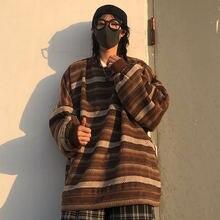 Пуловер женский трикотажный в японском стиле модный свитер полоску