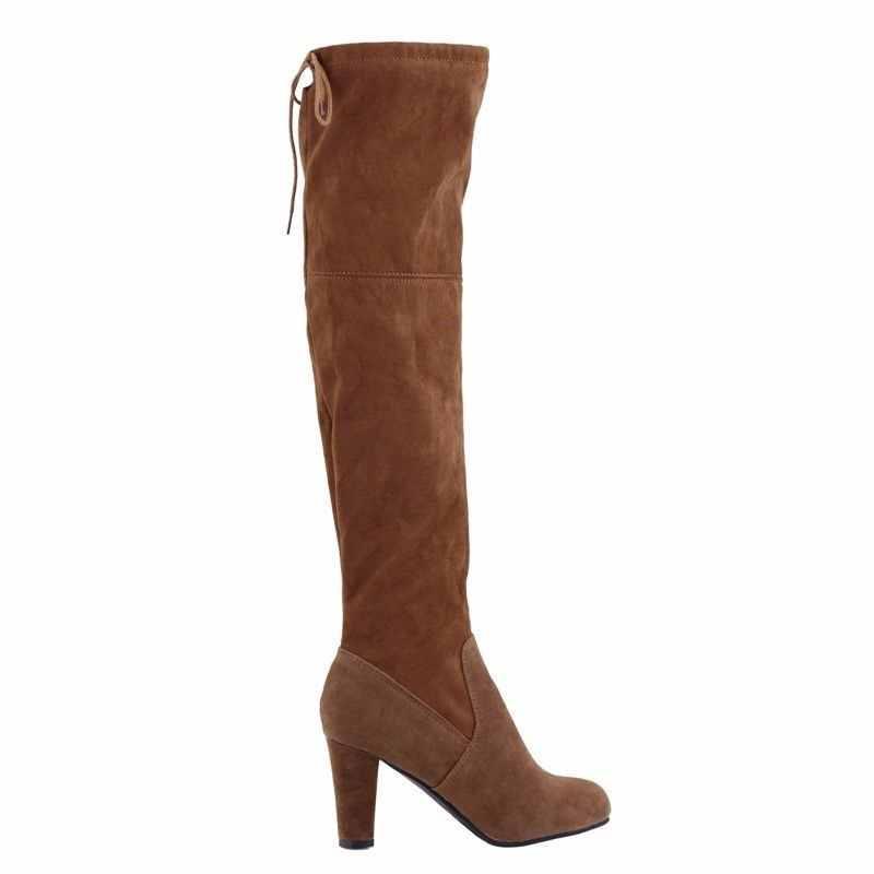 Nieuwe Suede Leer Vrouwen Over De Knie Laarzen Lace Up Sexy Hoge Hakken Vrouwen Schoenen Lace Up Winter Laarzen Warm schoenen Maat