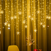 Christmas snowflakes LED String lights Curtain Light Flashing Waterproof Holiday Party Decoration Connectable Fairy Light 3.2M