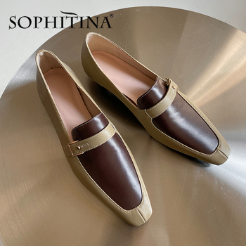 SOPHITINA New Casual Pumps Women High Quality Cow Leather Patchwork Belt Buckle Decoration Shoes Comfortable Fashion Pumps PO496