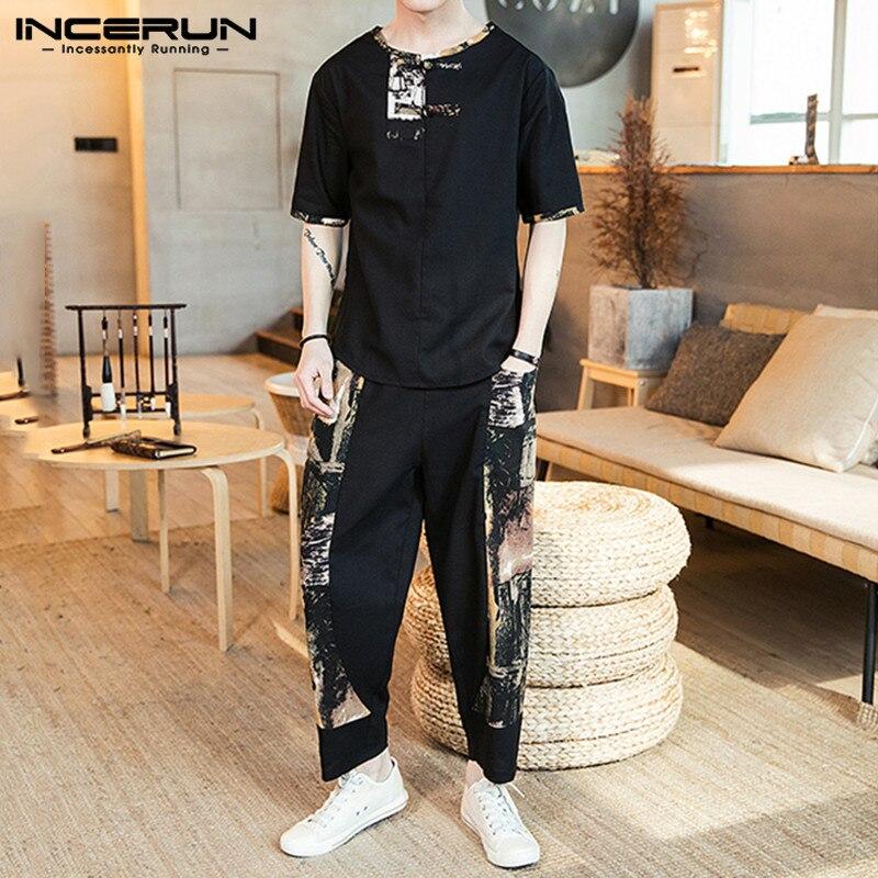 INCERUN Chinese Style Printed Men Sets Short Sleeve Casual Shirt Vintage Elastic Waist Pockets Pants Street 2020 Men Sets S-3XL