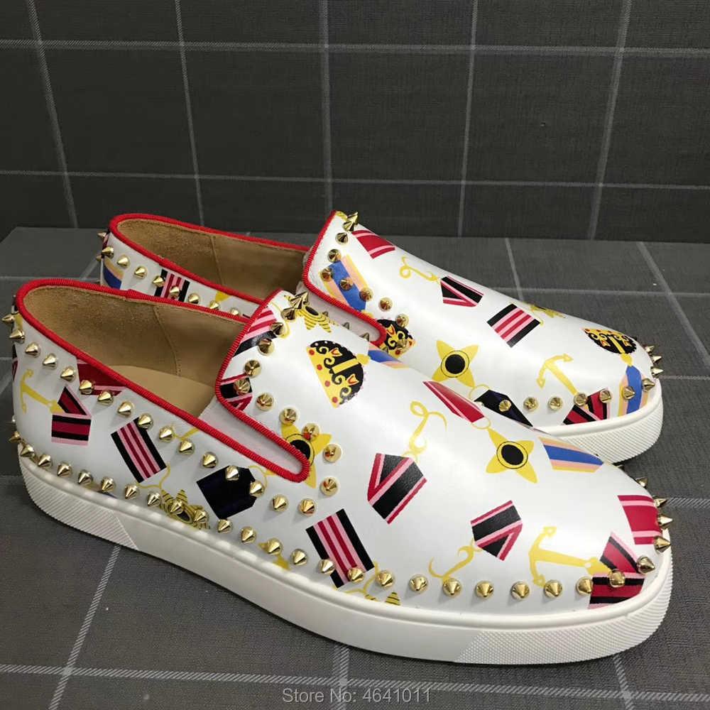 Slip on cl andgz สีขาวป้ายหนังสีแดงกางเกง Low Cut รองเท้าผ้าใบสำหรับชายกีฬารองเท้าวงกลมทอง Rivet casual loafers แบน
