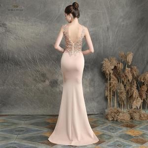 Image 2 - prom dresses 2019 black mermaid elastic party dress sexy vestidos de gala v neck appliques beading prom gown