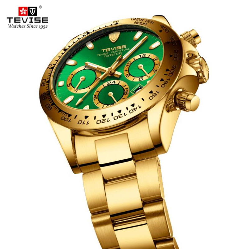 Classic Luxury TEVISE Mens Automatic Mechanical Watches Multifunctional Waterproof Men Brand Business Gold Watch Relogio