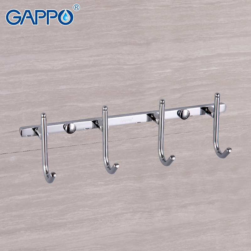 GAPPO Bathroom Robe Hooks White Chrome Bathroom Tower Holder Wall Mounted Hooks Bathroom Accessories Restroom Clothes Hook