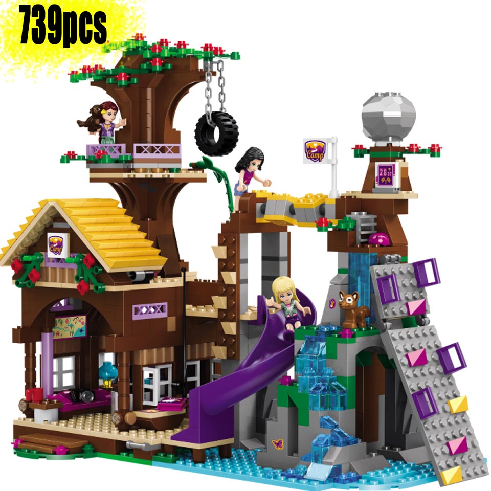 <font><b>10497</b></font> adventure camp tree house stephanie emma joy Compatible Legoinglys friends girls 3 figures building block 41122 Bricks Toy image