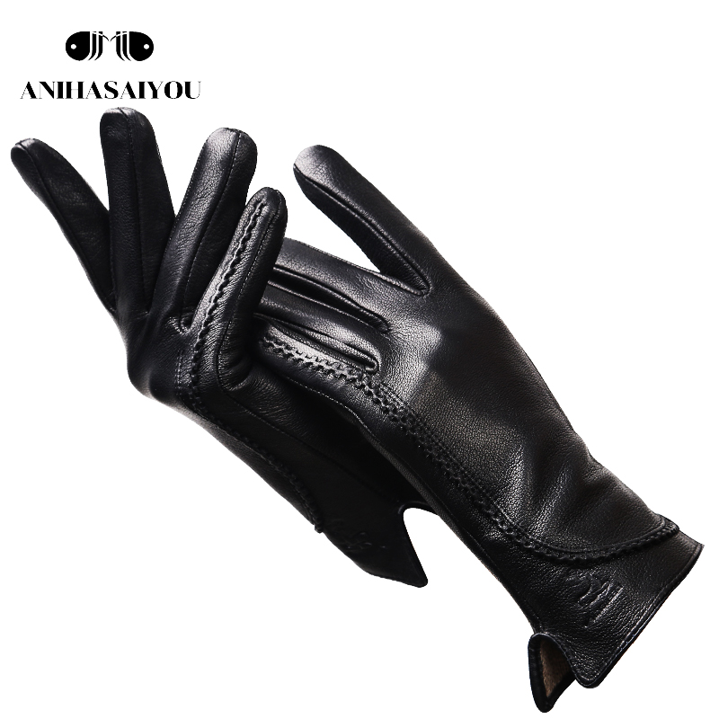Fashion Simple Warm Winter Gloves Women Warm Genuine Leather Gloves Women Black Imitation Buckskin Texture - 2289