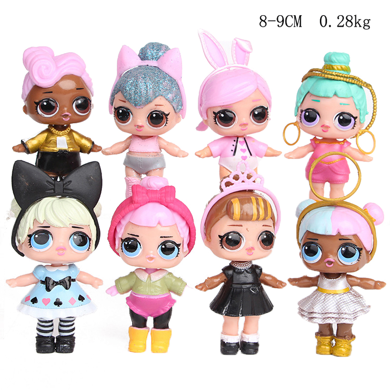 8pcs/set LOL Surprise Dolls Toy Confetti Glitter Serie PVC Cute Action Figures Anime Model Kids For Children Birthday Gifts 2S56