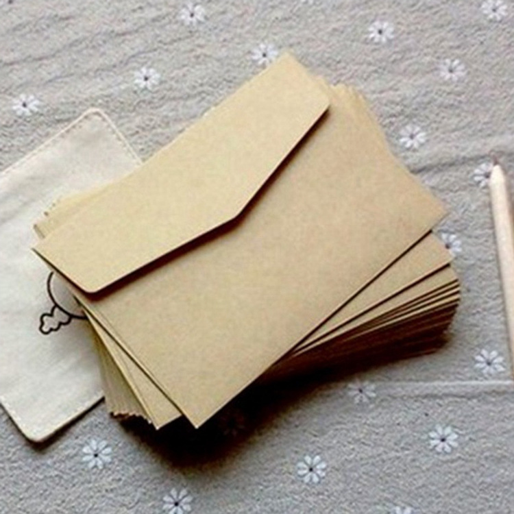 (10 Pieces/lot) 7*10cm Vintage Kraft Paper Envelopes Mini Greeting Card Membership Card Envelopes