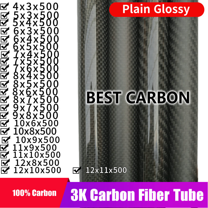 Free Shiping 4 5 6 7 8 9 10 11 12mm With 500mm Length High Quality Plain Glossy 3K Carbon Fiber Fabric Wound Tube,  CFK TUBE