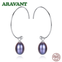 New Fashion 925 Sterling Silver Big Half Circle Hoop Earrings For Women Fine Freshwater Pearl Jewelry Gifts