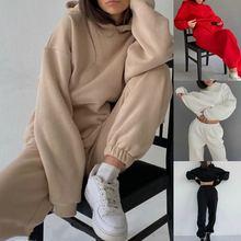 Novo outono inverno traje de duas peças conjunto moletom com capuz das mulheres e calças 2 pçs outfits feminino casual mulher basculante esporte terno