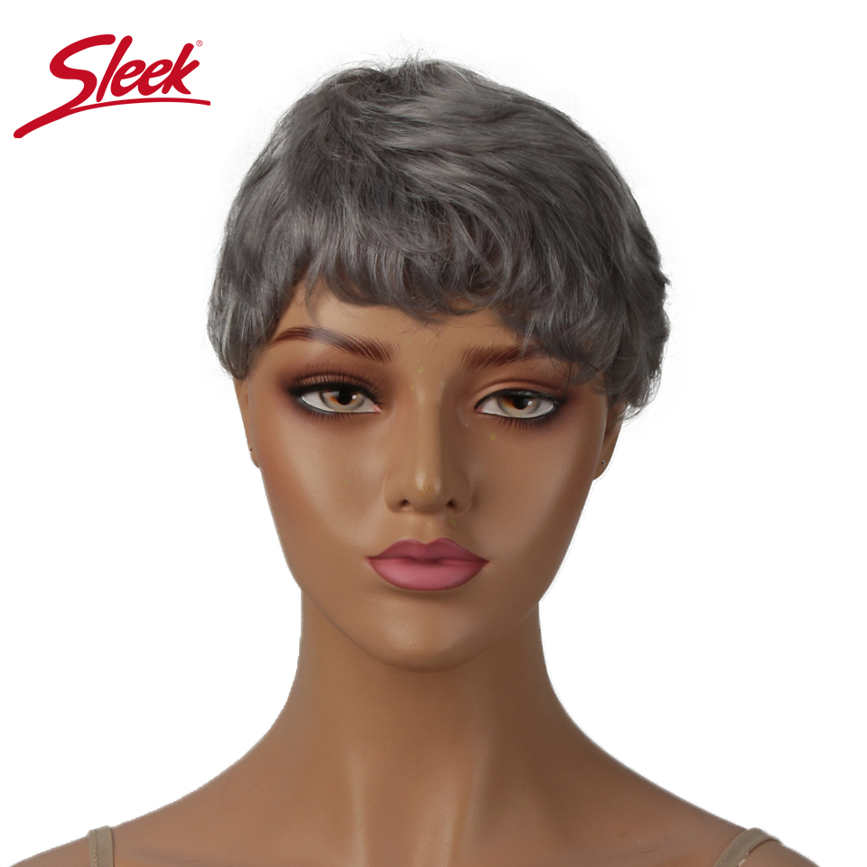 Sleek Short Human Hair Wigs Pixie Cut Wig 613 Blonde Wigs 100% Remy Brazilian Har Natural Wave Short Wigs Grey Orange Hair Wigs