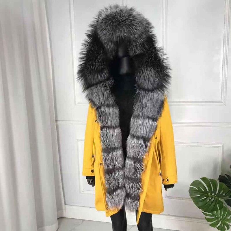 real natural fox fur coat jacket parka with fox fur big large fox fur collar rabbit fur  liner thick warm new waterproof