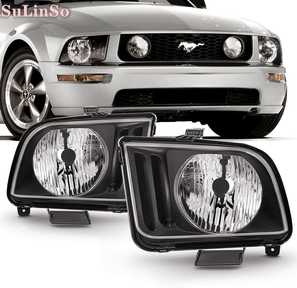 SuLinso Fit For Black 2005 2006 2007 2008 2009 Ford-Mustang-Headlights Headlamps Driver + Passenger 2PCS