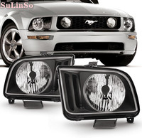 SuLinso Fit For Black 2005 2006 2007 2008 2009 Ford Mustang Headlights Headlamps Driver + Passenger 2PCS