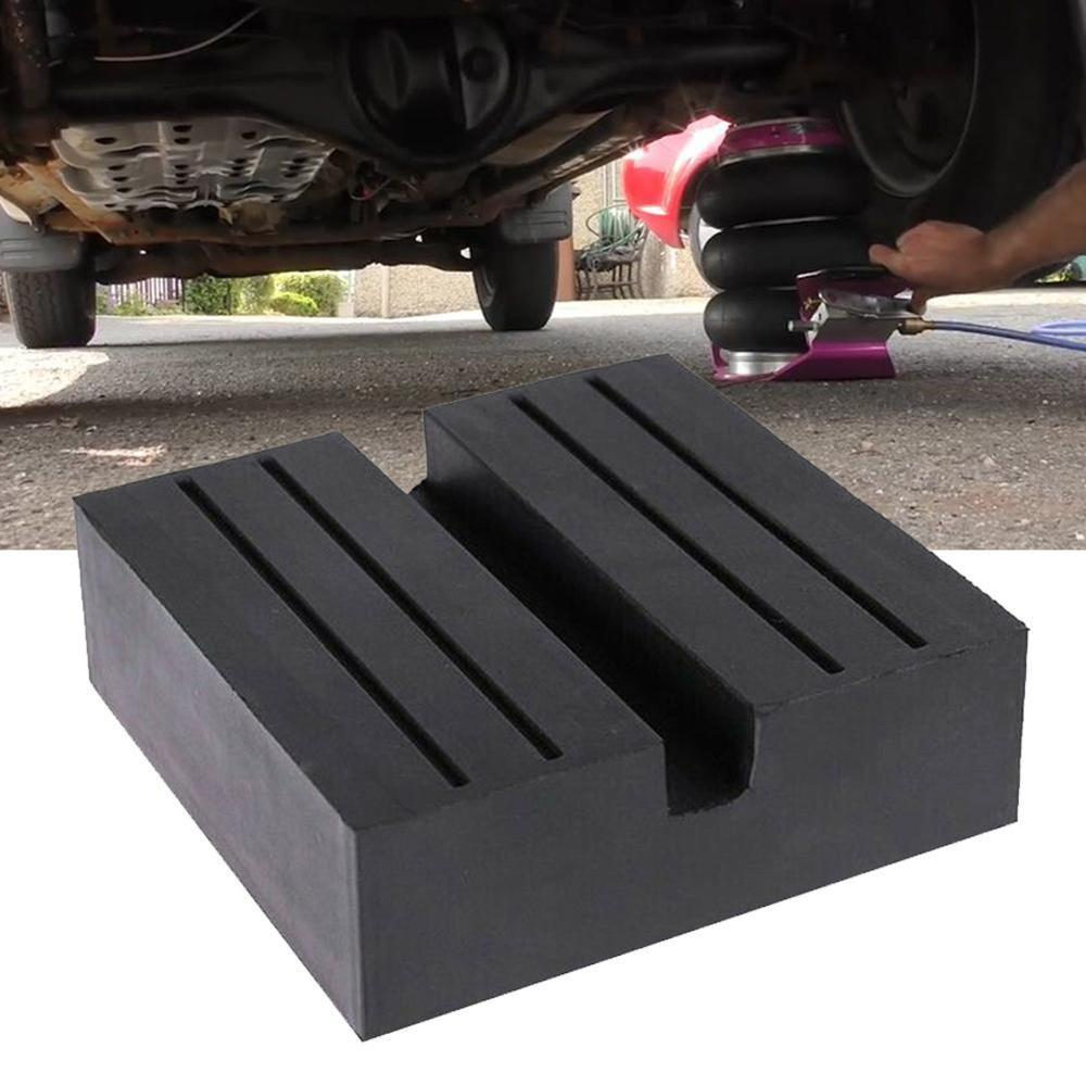 1PCS Universal 7.5x7.5x2.5cm Car Slotted Frame Rail Floor Jack Guard Adapter Lift Rubber Pads Black Rubber Resistant Damage NEW