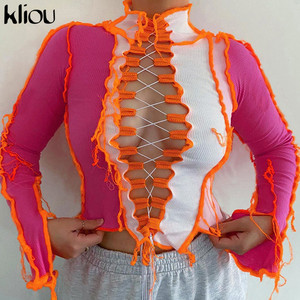 Kliou Ribbed Patchwork Hot Sexy Hollow Out T-Shirts For Women 2020 Autumn Turtleneck Long Sleeve Bodycon Clubwear Crop Tops