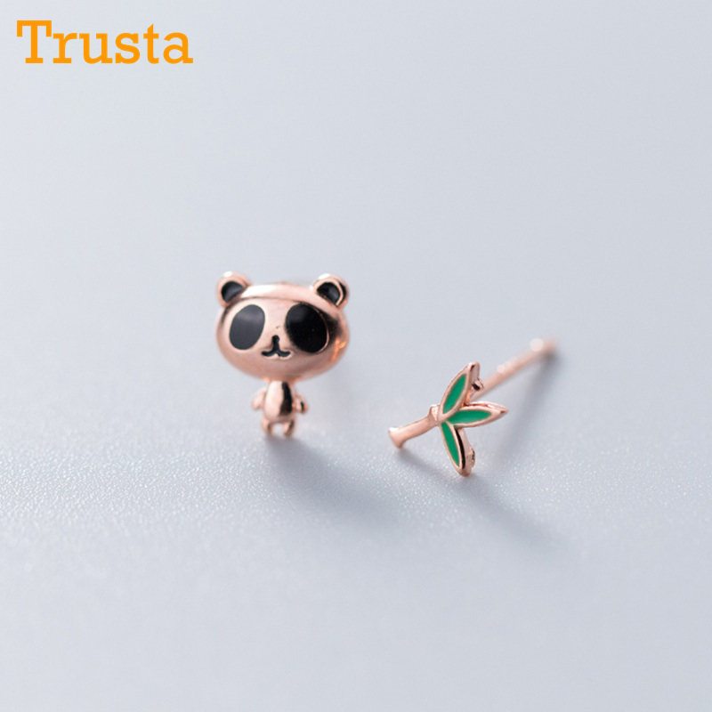 Trusta 100% 925 Solid Real Sterling Silver Jewelry Fashion Asymmetric Panda Bamboo Stud Earring For Teens Daughter Girl DS1051