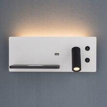 Sanmusion светодиодный настенный светильник беспроводной зарядное устройство usb порт полки настенные Освещение Современная отельная Лофт прик...