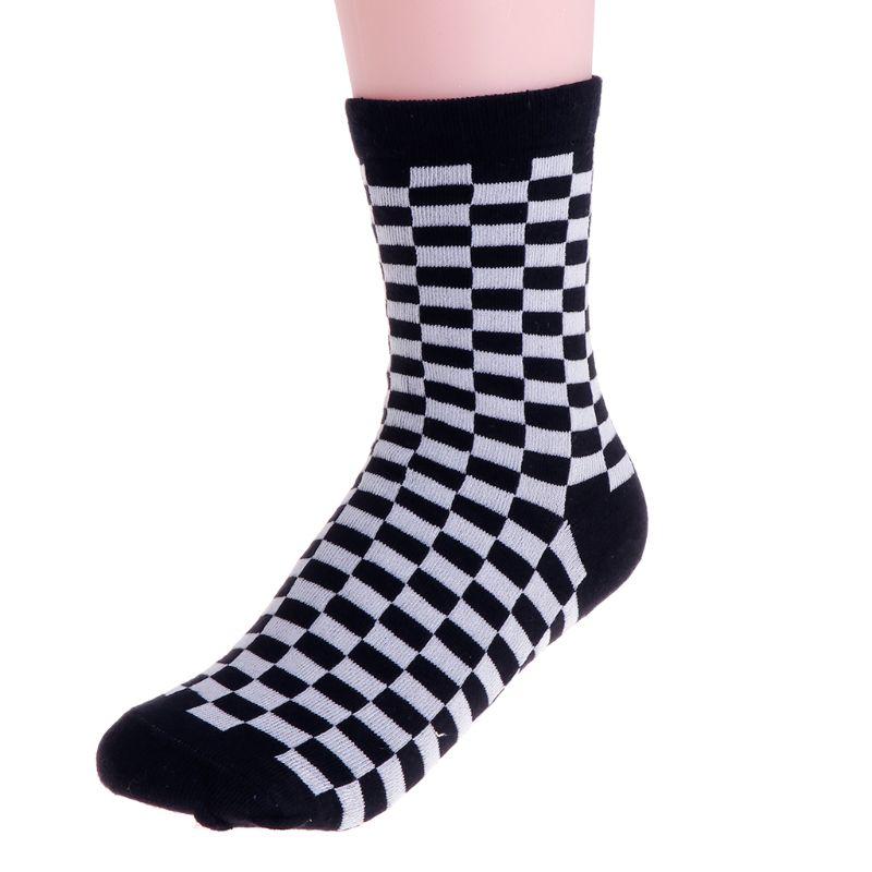 Fashion Trends Unisex Socks Checkerboard Geometric Checkered Men Women Cotton Socks