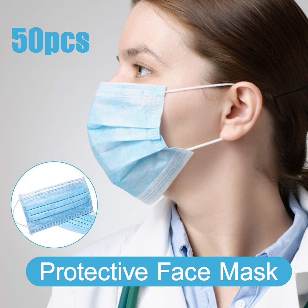 50pcs/pack Disposable 3-ply Protective Face Mask Unisex Anti-virus Earloop Mouth Masks Wholesale