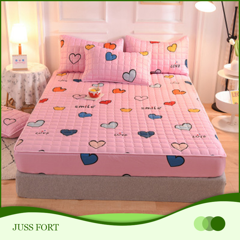 Thick Quilted Soft Fitted Sheet Bed Sheet Mattress Cover Elastic Sheets Comfortable Pillowcases Printing Single Full Queen King