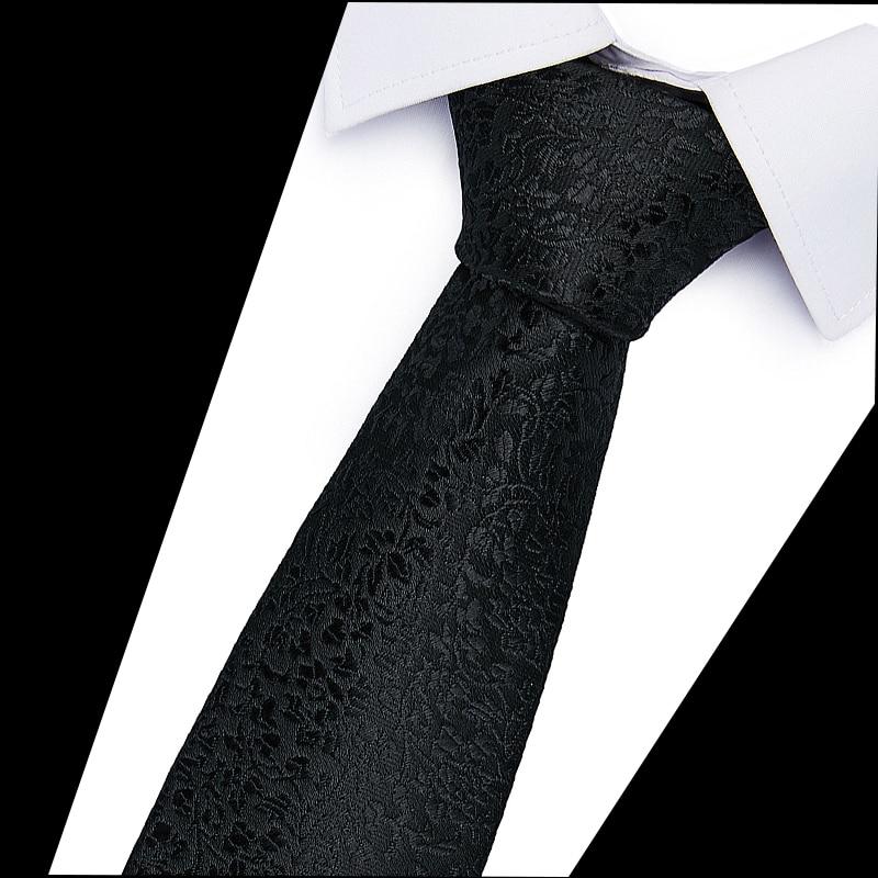 6cm Fashion Neckties Classic Men's Soild Wedding Ties Jacquard Woven 100% Silk Men   Neck Ties