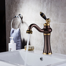 Bathroom Faucets Oil-rubbed Bronze Color Faucet Brass Bath Basin Mixer Tap with Hot and Cold Water Tap Sink Crane zgrk basin faucets bronze black crane bathroom faucets hot and cold water mixer tap mixer tap torneira