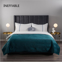 Soft velvet Quilted green Bedspread hotel Bed Cover Bed Sheet size twin queen king size 1pc blanket Pillowcases