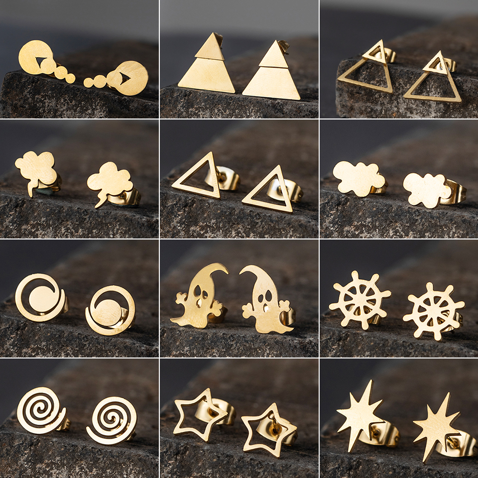 minimalist gold Stainless steel small stud earrings for women men silver stars korean fashion gift jewelry accessories wholesale