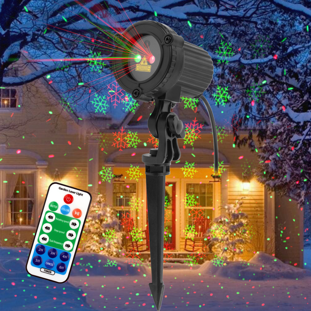 GODEA Red Green Snowflake Star Christmas Laser Projector Lights Waterproof Outdoor Garden Holiday Party Xmas Tree Show Lighting