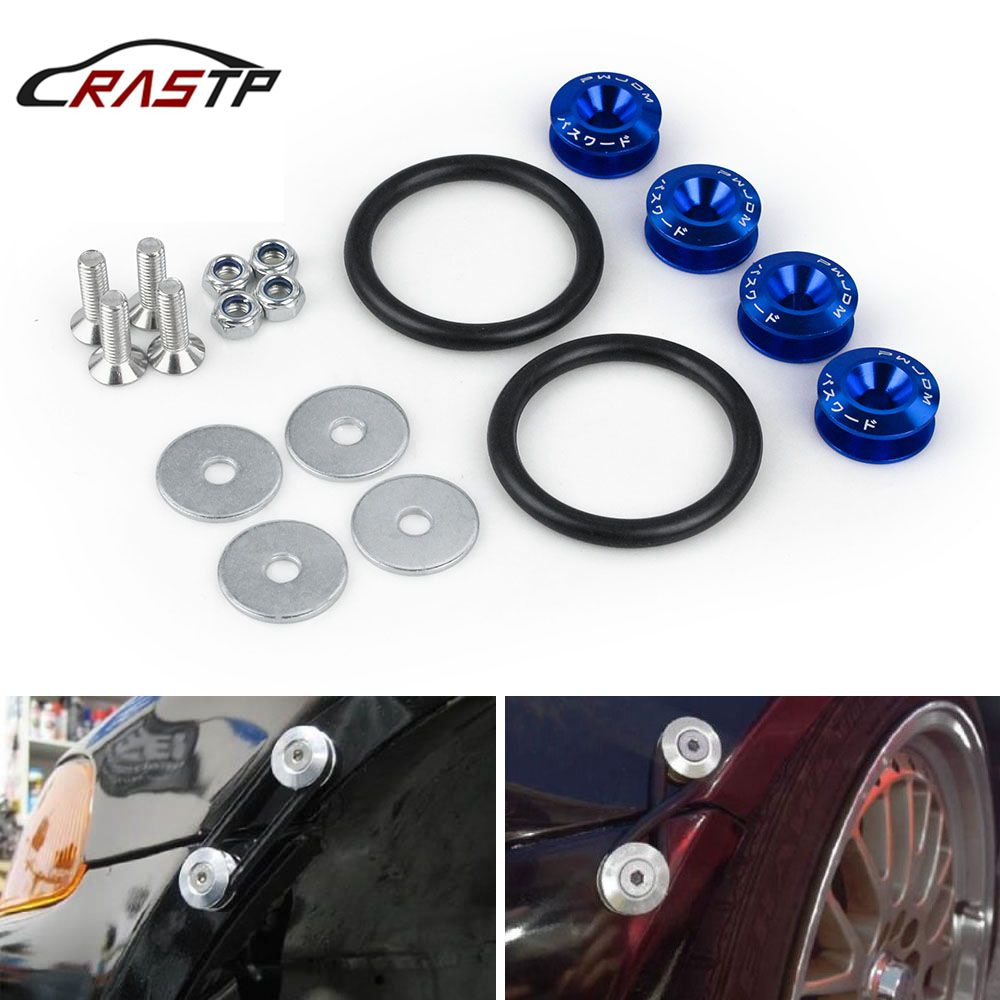 RASTP Tuning Car Universal Quick Release Fasteners with Logo Aluminum Bumper Quick Release Fasteners Fender Washers RS QRF001 in Bumpers from Automobiles Motorcycles