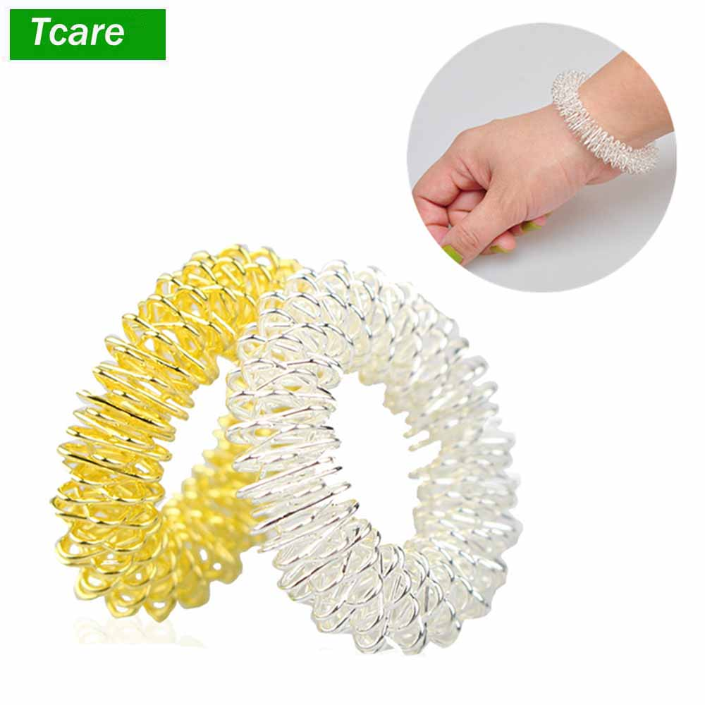 Tcare 2Pcs/Lot Silver Body Massage Supplies Relaxation Stainless Steel Wrist Hand Massager Ring Acupuncture Bracelet Health Care