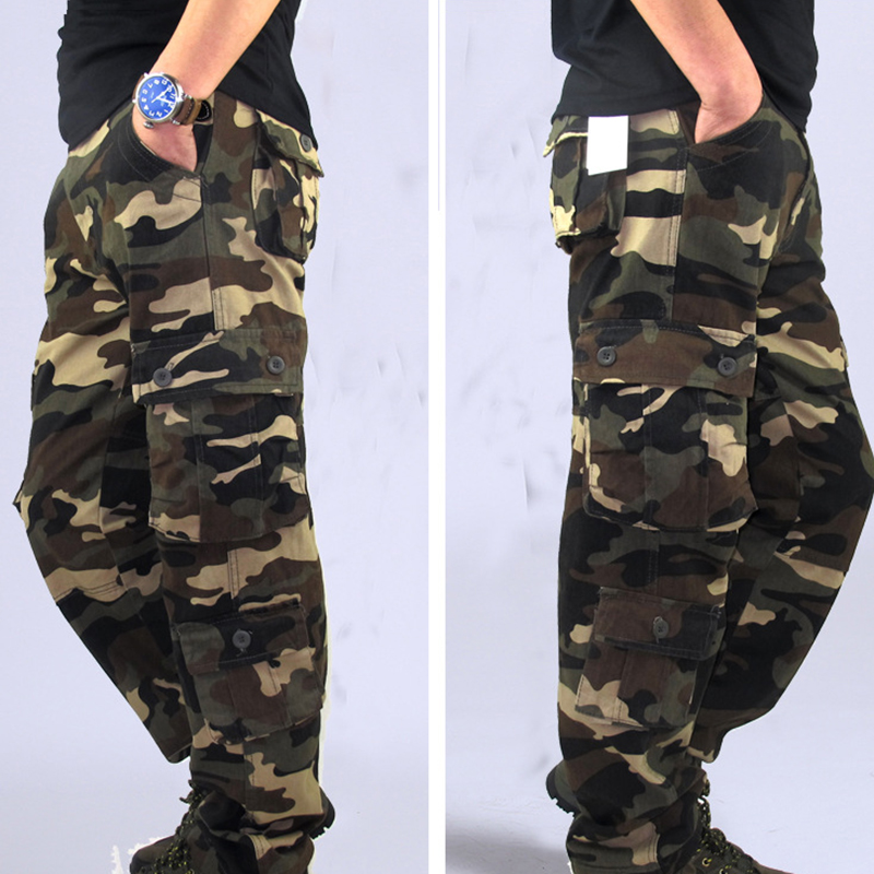 Men Pants Trousers Camouflage Combat Cargo Forces Work Army Military Pockets Water Repellent Ripstop Men's Spring Autumn