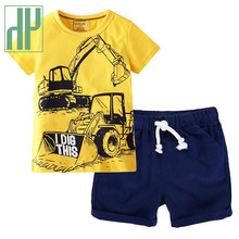 HH 2021 Hot Summer Kids Boys Cartoon Clothing Sets Children's Clothing T-shirt Short Pants Baby Boy Sportswear Clothes for Teens